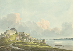 West View of Mount-Orgueil Castle, Part of [Grouville] Bay, and Semour Tower
